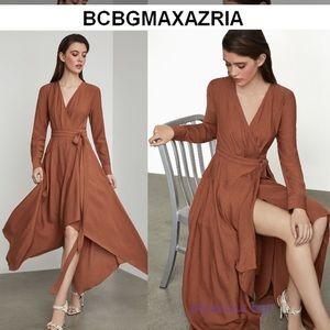 BCBGMAXAZRIA Asymmetrical Hem Wrap Dress